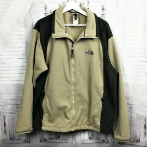 The North Face Tan & Black Fleece Zip Up Jacket L